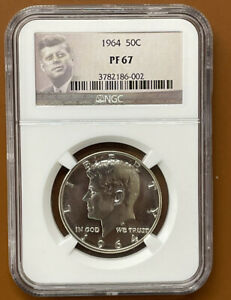 1964 ACCENTED HAIR KENNEDY HALF DOLLAR SILVER NGC PF67 PF 67 PROOF COIN   TCCCX