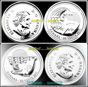 2X CANADA 2011 CANADIAN QUARTER ORCA WHALE & PEREGRINE 25 CENT COIN LOT
