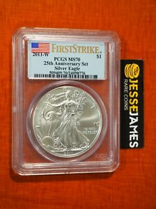 Click now to see the BUY IT NOW Price! 2011 W BURNISHED SILVER EAGLE PCGS MS70 FLAG FIRST STRIKE FROM 25TH ANN SET