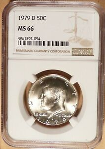 1979 D KENNEDY HALF DOLLAR NGC GRADED MS66 LIGHTLY TONED LOTS OF LUSTER.