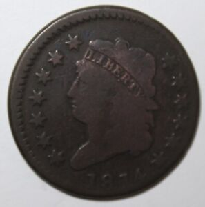 1814 CLASSIC HEAD LARGE CENT CROSSLET 4 100  COPPER
