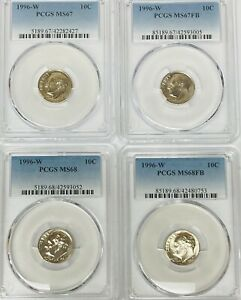 Click now to see the BUY IT NOW Price! 1996 W ROOSEVELT DIME PCGS MS67 MS67FB MS68 MS68FB    4 COIN SET