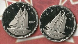 1983 AND 1984 CANADA QUEEN LIZZIE 10 CENTS  DIME   PROOFS