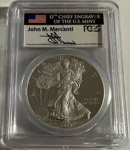 FIRST STRIKE 2013  W  SIGNED JOHN MERCANTI PCGS PR 70 $1 SILVER EAGLE WEST POINT