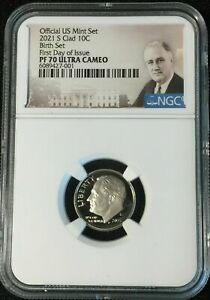 2021 S NGC PF70 UCAM ROOSEVELT CLAD DIME PROOF BIRTH SET FIRST DAY O ISSUE
