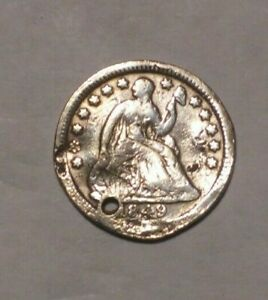 1849 SEATED HALF DIME   SILVER   AVERAGE COIN >>> .99 SHIPPING <<< WOW