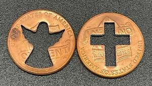LOT OF 2 LINCOLN PENNY CENT COINS CROSS & ANGEL