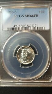 Click now to see the BUY IT NOW Price! 1935 S FULL BANDS MERCURY DIME   PCGS MS66FB   ORIGINAL LUSTROUS GEM