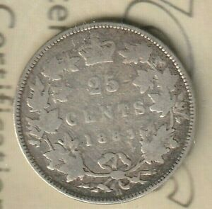 1883 CANADA QUEEN VICTORIA 25 CENTS 92.5  AG   ICCS: G 4  960 000 MINTED ONLY