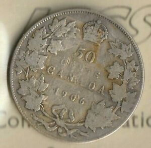 1906 CANADA KING EDDIE 50 CENTS  92.5  AG  350K MINTED  ICCS: VG 8  NICE
