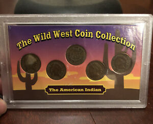 THE WILD WEST COIN COLLECTION    5  INDIAN HEADS  SEALED IN CASE  NICE