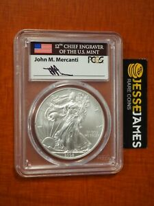 2008 W BURNISHED SILVER EAGLE PCGS SP70 REVERSE OF 2007 JOHN MERCANTI FLAG LABEL