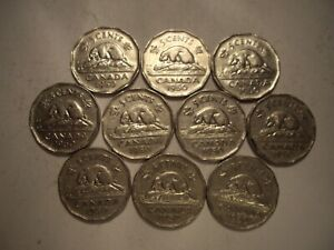 CANADA GEORGE VI 1950 FIVE CENTS   LOT OF 10 COINS