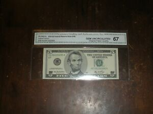 2006 $5 FRN TYPE 1 COLORLESS NOTE GEM UNCIRCULATED