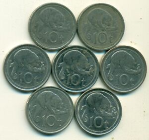 7   10 TOEA COINS W/ CUSCUS FROM PAPAU NEW GUINEA  1976/95/98/2005/06/10/14