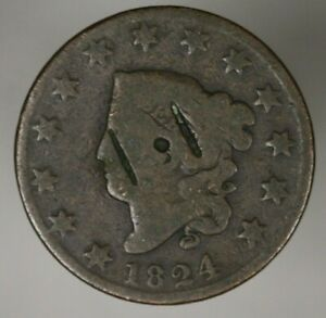 US 1824 LARGE CENT CUTS OBV  A2747