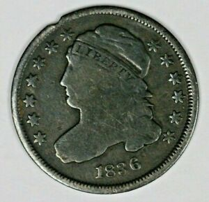 US 1836 CAPPED BUST DIME REV STAMP? DARK  A2779