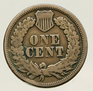 1863 UNITED STATES CIVIL WAR TIME PATRIOTIC WITH SHIELD INDIAN CENT COIN I93188