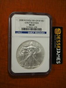 2008 W BURNISHED SILVER EAGLE NGC MS69 EARLY RELEASES REVERSE OF 2007 BLUE LABEL