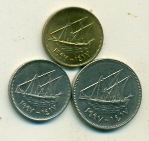 3 DIFFERENT COINS W/ SHIP FROM KUWAIT   5 20 & 50 FILS  ALL DATING 1997