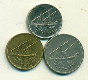 3 DIFFERENT COINS W/ SHIP FROM KUWAIT   10 20 & 50 FILS  ALL DATING 2003