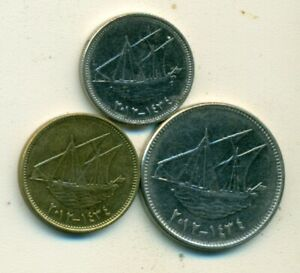3 COINS WITH SHIPS FROM KUWAIT   10 20 & 100 FILS  ALL DATING 2012