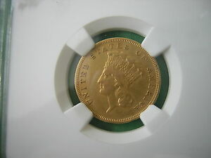 NGC 1889  $3.00 PRINCESS GOLD PIECE  VF  VERY    2 429  MINTED. LAST YEAR