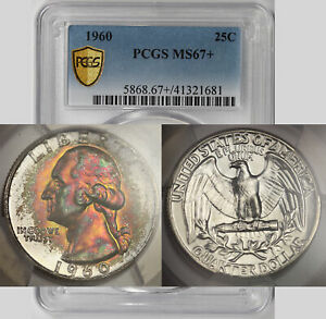 Click now to see the BUY IT NOW Price! 1960 WASHINGTON QUARTER SILVER 25C MS 67  PLUS PCGS SECURE SHIELD COLOR TONED