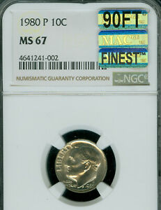 Click now to see the BUY IT NOW Price! 1980 P ROOSEVELT DIME NGC MAC MS67 90FT MAC FINEST GRADE SPOTLESS $8 000 IN FT.