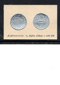 1929 AFGHANISTAN CIGARETTE CARD HALF AFGHAN  SILVER COIN NOT AN ACTUAL COIN