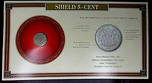 ANTIQUE COIN 1867 SHIELD 5 CENT IN SEALED PRESENTATION SLEEVE APPROX. VF TO XF