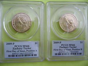 2009 P ZACHARY TAYLOR PCGS MS 66 FIRST DAY POS A&B 2 COIN BUSINESS DOLLAR SET