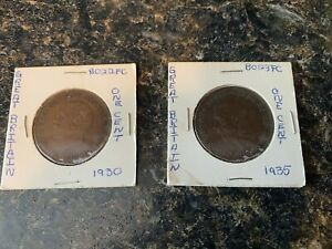 LOT OF 2   GREAT BRITAIN LARGE ONE PENNY COINS   1930 AND 1935