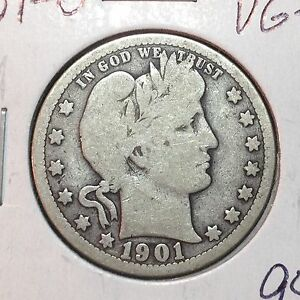1901 O  VG   BARBER QUARTER   LY PART IT   SEMI KEY DATE     NICE COIN