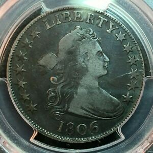 1806/9  6 OVER INVERTED 6  PCGS F 12  EARLY DRAPED BUST HALF DOLLAR  LOOKS VF
