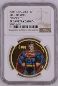 Click now to see the BUY IT NOW Price! 2008 TUVALU GOLD $100   SUPERMAN   MAN OF STEEL   PF 68 UC   NGC COIN   POP 1