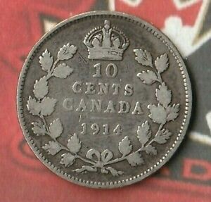 1914 CANADA KING GEORGE 10 CENTS  DIME   92.5  AG   DARK TONED
