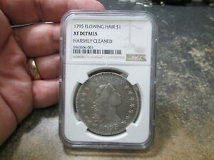1795 2 LEAVES FLOWING HAIR DOLLAR NGC EXTRA FINE CLEANED