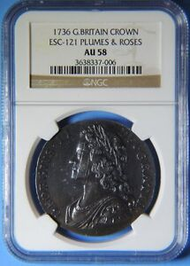 Click now to see the BUY IT NOW Price! 1736 GREAT BRITAIN ENGLAND SILVER CROWN COIN  PLUMES & ROSES GEORGE II NGC AU 58