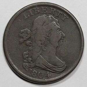 1804 C 13 DOUBLE STRUCK MDS DRAPED BUST HALF CENT COIN 1/2C