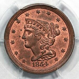Click now to see the BUY IT NOW Price! 1854 C 1 PCGS MS 64 RB BRAIDED HAIR HALF CENT COIN 1/2C EX; CARVIN GOODRIDGE
