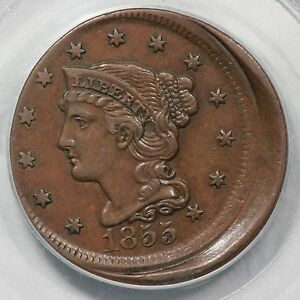 Click now to see the BUY IT NOW Price! 1855 N 12 PCGS AU 50 10  OFF CENTER BRAIDED HAIR LARGE CENT COIN 1C EX; HOLMES