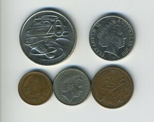 AUSTRALIA   LOT OF 5 COINS   1 2 5 10 & 20 CENTS   EXOTIC ANIMALS   LOT   27