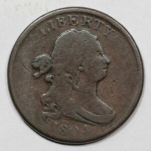 1804 C 9 R 2 DOUBLE STRUCK DRAPED BUST HALF CENT COIN 1/2C
