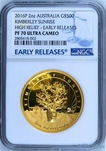 Click now to see the BUY IT NOW Price! 2016 AUSTRALIA KIMBERLEY SUNRISE PROOF HIGH RELIEF GOLD $500 NGC PF70 2 OZ COIN