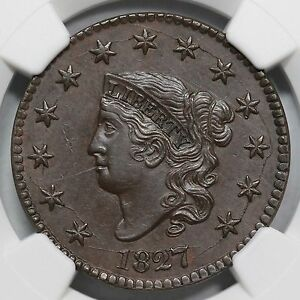 Click now to see the BUY IT NOW Price! 1827 N 9 R 3 NGC AU 58 MATRON OR CORONET HEAD LARGE CENT COIN 1C