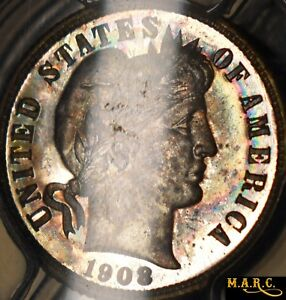 Click now to see the BUY IT NOW Price! 1908 PR67 PCGS 10C BARBER DIME A GEM WITH IRIDESCENT TONING