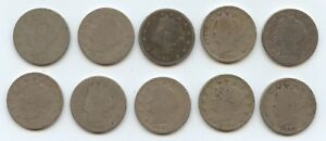 TEN 1891 LIBERTY NICKELS  5904  LOW GRADE COINS. READABLE DATES. CAREFULLY CHEC