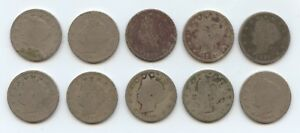 TEN 1891 LIBERTY NICKELS  5906  LOW GRADE COINS. READABLE DATES. CAREFULLY CHEC