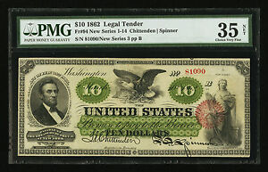Click now to see the BUY IT NOW Price! FR. 94 1862 $10 TEN DOLLARS LEGAL TENDER PMG CHOICE FINE 35